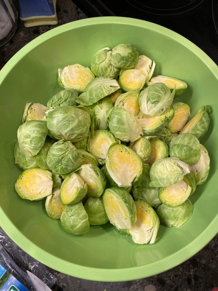 fresh brussels sprouts cut in half